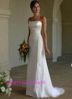 elegant A Line Strapless Chiffon white ivory wedding dress lace up
