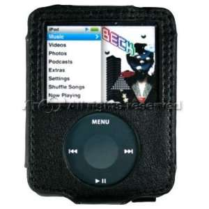 APPLE IPOD NANO 3G 3rd Generation BLACK Premium Leather Carrying Cover