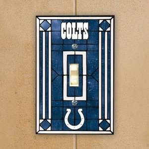 Indianapolis Colts Royal Blue Art Glass Switch Plate Cover