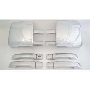 com Toyota Tundra Crew Max Chrome Set ( Towing Mirror Cover and Door