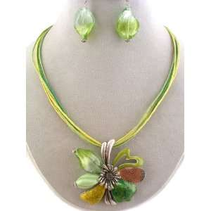 Fashion Jewelry ~ Metal Flower Lime Green Murano Glass Necklace