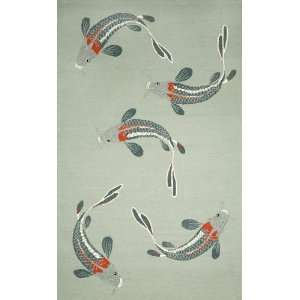 Indoor/Outdoor Hand Tufted Area Rug Koi 8 x 10 Aqua Carpet