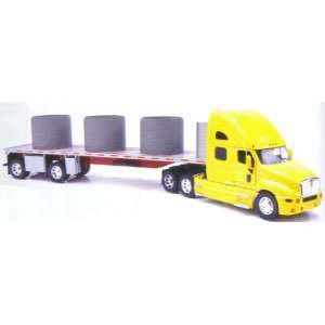 New Ray Kenworth T2000 Truck With Flatbed Trailer 132 Scale   New Ray