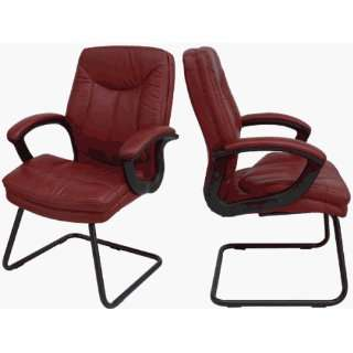 Glove Soft Leather Sled Base Office Side Chair w/ Padded