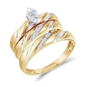 Wedding Bands Yellow Gold Men Lady .09ct, Size 5 Jewel Roses Jewelry