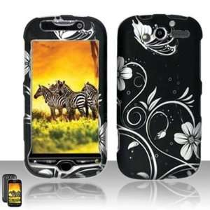 Black Flower Hard Cover Phone Case HTC MyTouch HD 4G with