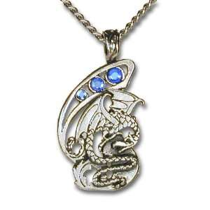 Ice Dragon Blue Crystal Pendant Necklace Jewelry
