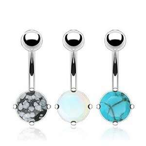 Value Pack of Semi Precious Stone Prong Set Navel Belly Ring   14G, 3