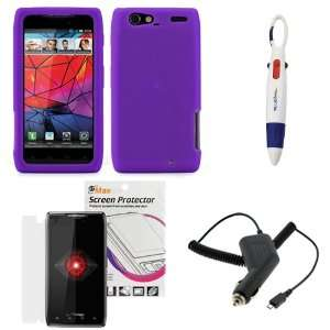 GTMax Purple Soft Silicone Case + Clear LCD Screen Protector + Car