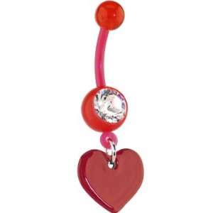 Bioplast Red Heart Dangle Belly Ring Jewelry