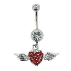 Steel   Red Cubic Zirconia Dangling Heart With Wings Belly Ring