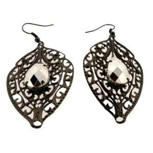 Gun Metal Leaf Earrings With Silver Tear Drop Case Pack 3