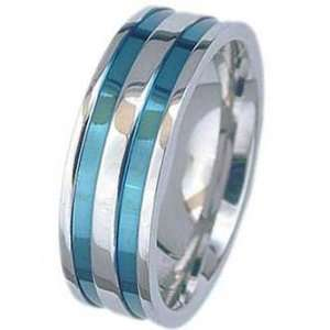 7MM High Polished Stainless Steel Ring With Two Blue