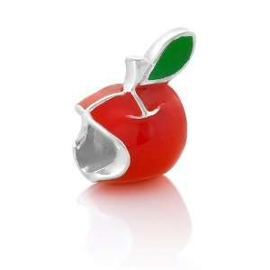 Sterling Silver Red Enamel Apple for Teacher Bead Charm Fits Pandora