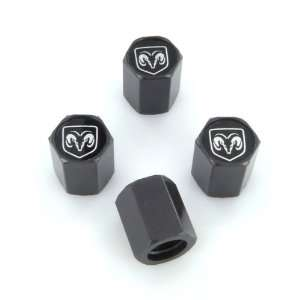 Dodge Ram Black Logo Black Tire Stem Valve Caps Automotive