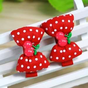 Red) 1 Pair Baby/Toddler/Girl Polka Dot pattern Bow Shaped with Tiny