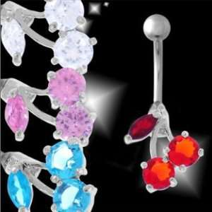 316L Surgical Steel   Red Cherry Belly Ring   14g 3/8 Length   Sold