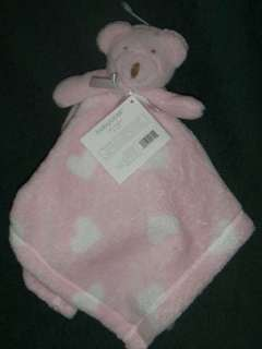 Baby Gear Pink White Teddy Bear Heart Lovey Blanket NWT