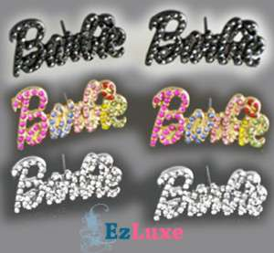 Iced Out Bling NICKI MINAJ Barbie letter font EARRINGS