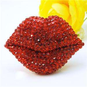 Sweet Sexy Red Lip Kiss Ring Sz Free Swarovski Crystal