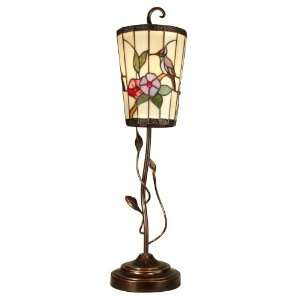 Dale Tiffany Hummingbird and Vine Art Glass Accent Lamp