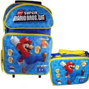 Super Mario Bros Wii Large Backpack Bag Roller and Lunch