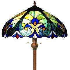 Victorian Art Deco Inspired Tiffany Style Stained Glass Floor Lamp